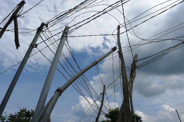 trụ điện là những cây gỗ tạp, thậm chí là ống nước...