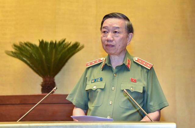 Bộ trưởng Bộ Công an Tô Lâm trình bày tờ trình Luật Công an nhân dân (sửa đổi): (Ảnh: Như Phúc)