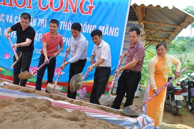 Công trình chính thức được khởi công với việc xây mới 1 phòng học, sửa sang 2 phòng học đã xuống cấp và xây cầu Đồng Măng với trị giá 750 triệu đồng.