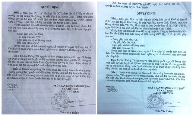 Hai Quyết định giao đất cho ông Lê Văn Dữ và ông Trần Văn Thọ đều do Phó Chủ tịch UBND huyện Trần Văn Thắng ký