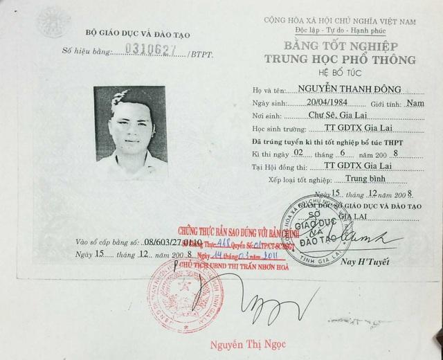 Bằng tốt nghiệp THPT giả của ông Nguyễn Thanh Đông