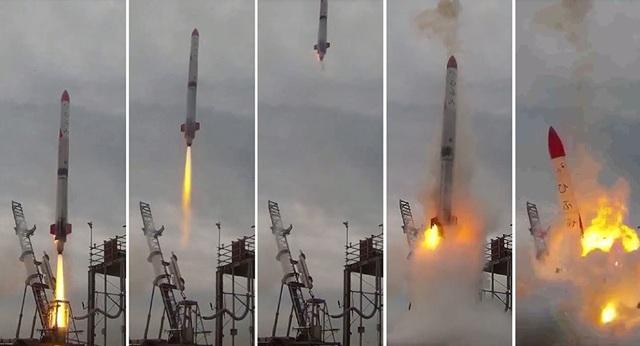 Khoảnh khắc tên lửa rơi xuống và phát nổ (Ảnh: AFP)