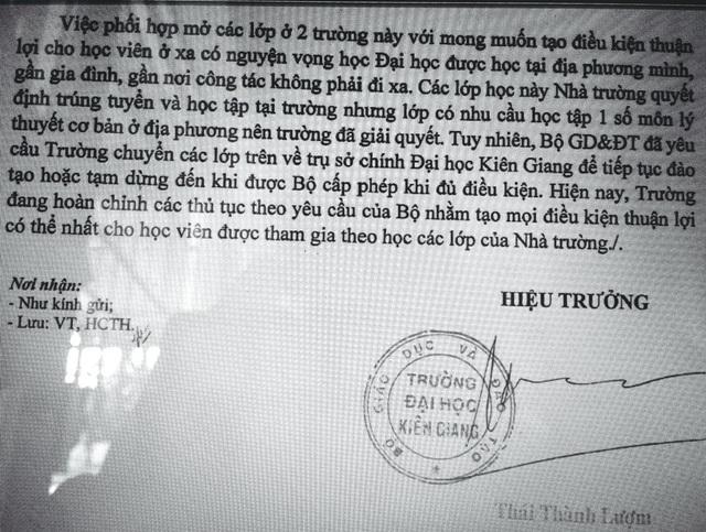 """Trường Đại học Kiên Giang lên tiếng vụ 04 lớp đào tạo """"chui"""" ở Cà Mau, Tiền Giang - 1"""