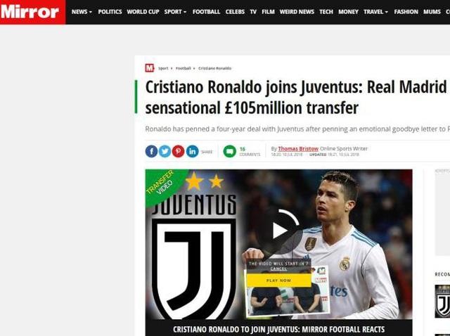 Tờ Mirror (Anh) viết: C.Ronaldo đã kết thúc kỷ nguyên huy hoàng ở Real Madrid nhưng anh ấy không sang Anh mà tới Juventus