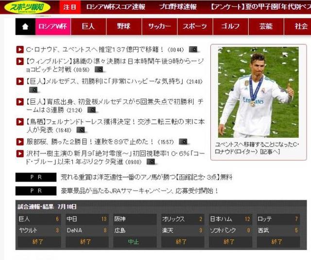 Tờ Hochi (Nhật Bản) đưa tin rằng C.Ronaldo có mức phí chuyển nhượng 13,7 triệu Yên. Cầu thủ này đã khép lại 9 năm huy hoàng cùng Real Madrid. Sau 438 trận ra sân, CR7 đã ghi 451 bàn cho Los Blancos