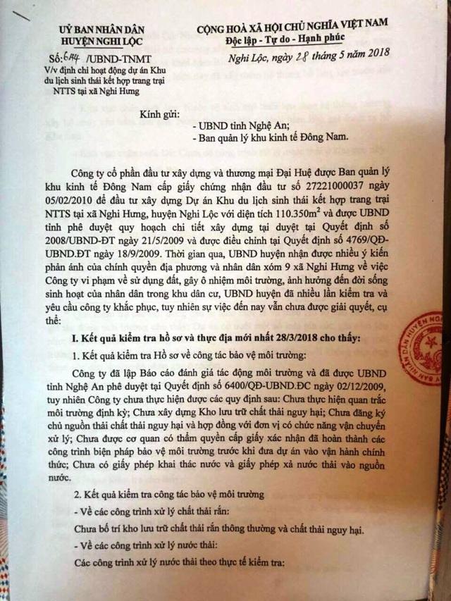 UBND huyện Nghi Lộc từng có văn bản gửi UBND tỉnh Nghệ An nói về việc ô nhiễm môi trường tại Khu du lịch sinh thái Đại Huệ.