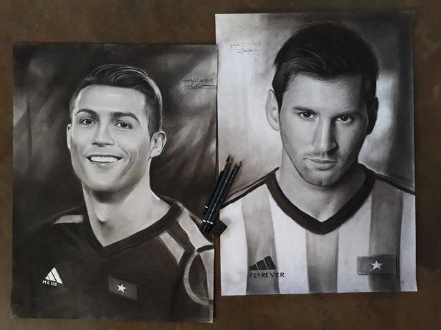Bức tranh Lâm vẽ cầu thủ bóng đá Ronaldo, Messi