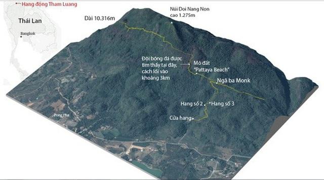 Đội bóng Lợn hoang đã vào rất sâu trong hang Tham Luang. Đồ họa: Guardian