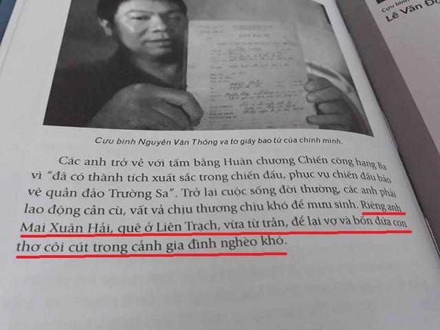 Tại trang 200 của cuốn sách, cựu binh Mai Xuân Hải được nhắc đến vừa từ trần