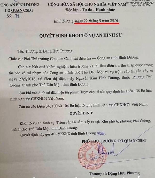 Quyết định khởi tố vụ án hình sự đối với vụ mất trộm tại siêu thị điện máy Nguyễn Kim Bình Dương.