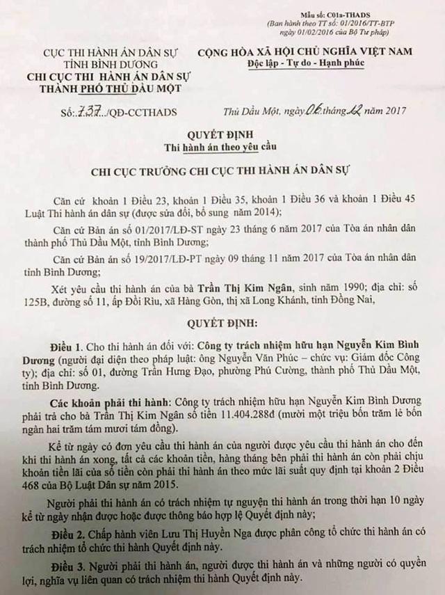Quyết định thi hành án của Chi cục Thi hành án dân sự thành phố Thủ Dầu Một yêu cầu Nguyễn Kim Bình Dương trả 11,4 triệu đồng cho bà