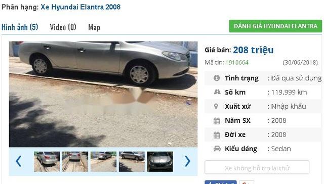 Giá thấp hơn một chút là chiếc Huyndai Elantra nhập khẩu đời 2008 này. Hiện xe đang được chủ nhân rao bán 208 triệu đồng.