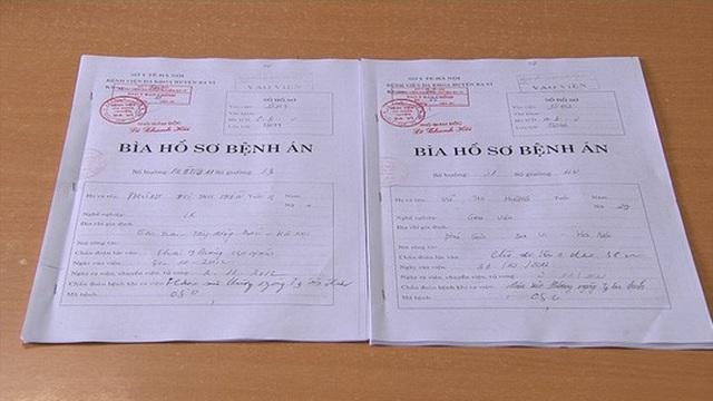 Hồ sơ bệnh án của hai đứa trẻ bị trả nhầm hy hữu