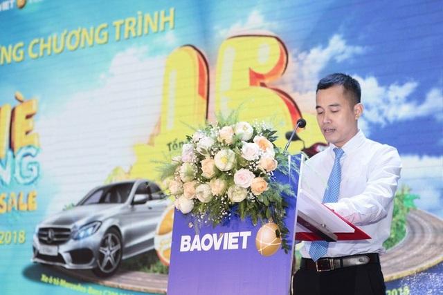 Ông Nguyễn Anh Tuấn -Giám đốc Khối Quản lý Hoạt động phát biểu tại Lễ quay thưởng đợt 1 chương trình Mùa hè sôi động - chương trình tri ân khách hàng lớn nhất năm 2018 của Tập đoàn Bảo Việt