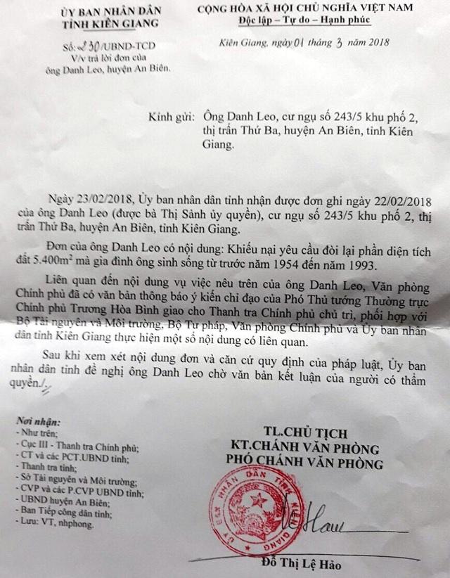 Công văn của UBND tỉnh Kiên Giang trả lời cho gia đình ông Danh Leo liên quan vụ việc gia đình ông Danh Leo đòi 5.400m2 đất mà chính quyền huyện An Biên đã mượn từ 1983