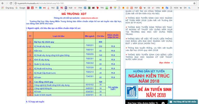 Thông tin tuyển sinh mức điểm sàn 11 được công bố trên website tuyển sinh trường ĐH Xây dựng miền Trung (ảnh chụp lúc 8g sáng ngày 14/7)
