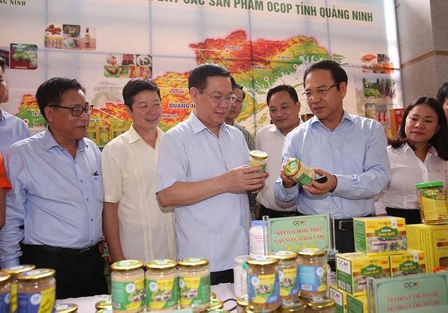 Phó Thủ tướng Vương Đình Huệ xem sản phẩm OCOP của tỉnh Quảng Ninh.