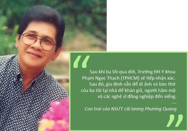 Xem thêm: Nghệ sĩ cải lương Phương Quang qua đời, di nguyện hiến xác cho y học