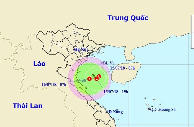 Vị trí và hướng di chuyển của vùng áp thấp trên Biển Đông. (Ảnh: NCHMF).