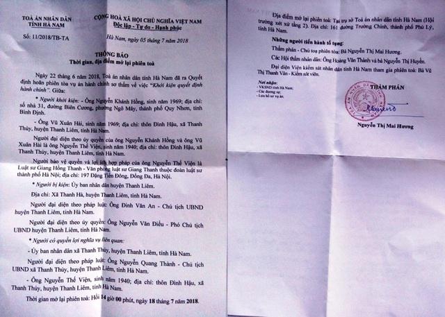 TAND tỉnh Hà Nam ra thông báo số 11/2018/TB-TA về việc mở lại phiên tòa vào 14h ngày 18/7 nhưng phiên tòa bị hoãn do đại diện UBND xã Thanh Thủy xin vắng mặt vì bị ốm