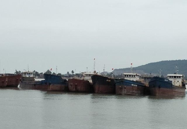 Tàu hàng neo đậu tránh trú bão tại Cảng nước sâu Nghi Sơn, huyện Tĩnh Gia