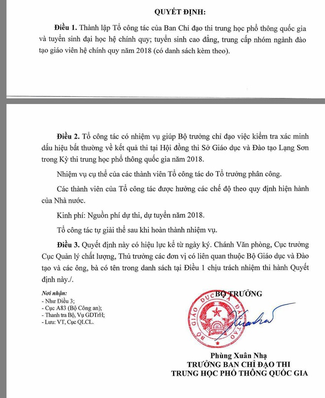 Thành lập Tổ công tác xác minh dấu hiệu bất thường về điểm thi tại Lạng Sơn