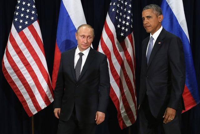 Tổng thống Putin chụp ảnh cùng người đồng cấp Obama tại cuộc gặp song phương ở trụ sở Liên Hợp Quốc ngày 28/9/2015 ở New York. (Ảnh: Getty)