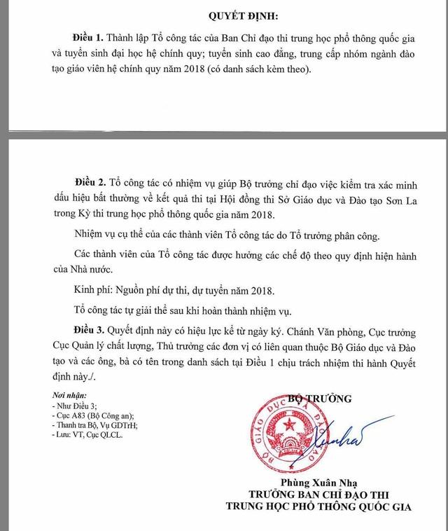 Thành lập Tổ công tác xác minh dấu hiệu bất thường về điểm thi tại Sơn La