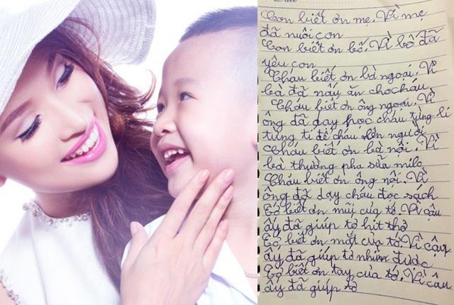 """Sau một hành trình dài đầy kiên trì và nước mắt đồng hành cùng con chữa sang chấn tâm lý, Vân Hugo chia sẻ bức thư xúc động mà bé Bin viết cho gia đình. Diễn viên Chiều Xuân, MC Hoàng Linh, ca sĩ Vy Oanh... đã """"tan chảy"""" vì sự ngọt ngào của cậu bé."""