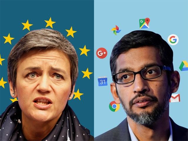 Trong nhiều năm qua, bà Margrethe Vestager, Ủy viên cấp cao Liên minh châu Âu (trái) đã liên tục điều tra về các dịch vụ và ứng dụng của Google trong việc vi phạm các quy định đề ra.