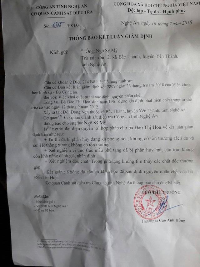 Cơ quan chức năng thông báo, không đủ căn cứ khoa học để xác định nguyên nhân cái chết của bà Đào Thị Hoa.