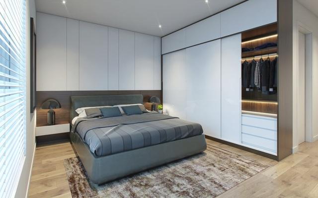 Căn hộ với các hệ tủ liền tường vừa gọn gang, vừa tiết kiệm diện tích