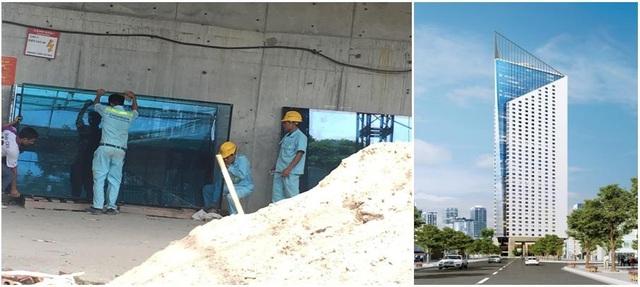 Hiện tại, tiến độ thi công dự án đang rất khẩn trương. Công nhân đang vận chuyển kính ốp mặt ngoài của Tòa Tháp ( hình ảnh ngày 19/07/2018)