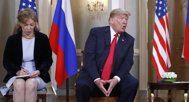 Bà Marina Gross là phiên dịch viên cho Tổng thống Trump trong cuộc họp kín với Tổng thống Putin hôm 16/7. (Ảnh: AP)