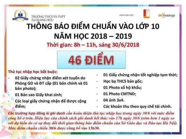 Thông báo của Trường THCS & THPT Tạ Quang Bửu sáng 30/6.