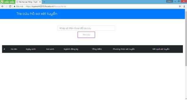 Trang web của đại học Lạc Hồng còn cho phép các sĩ tử tra cứu kết quả sau khi nộp hồ sơ