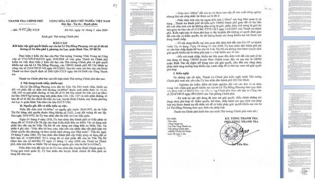 Báo cáo số 485/BC-TTCP ngày 16/3/2009 kết luận về việc giải quyết khiếu nại của bà Lê Thị Hồng Phượng, trong đó đã phân tích, kết luận rất rõ về việc khiếu nại của gia đình bà Phượng.