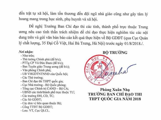 Công văn của Bộ trưởng Bộ GD&ĐT Phùng Xuân Nhạ
