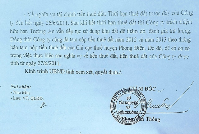 Tờ trình của Sở Tài nguyên và Môi trường tỉnh Thừa Thiên Huế gửi cho UBND tỉnh đề nghị cho Công ty TNHH Trường An gia hạn thuê đất
