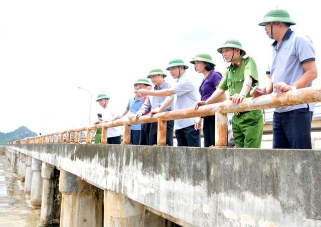 Bộ trưởng Nguyễn Xuân Cường (thứ 4 từ phải sang) kiểm tra, chỉ đạo công tác phòng chống thiên tai tại tràn Lạc Khoái, Gia Viễn, Ninh Bình.