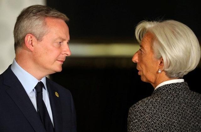 Bộ trưởng Tài chính Pháp Bruno Le Maire (trái) và Giám đốc Điều hành IMF Christine Lagarde tại Hội nghị Bộ trưởng Tài chính G20 ở Argentina. Ảnh: Reuters
