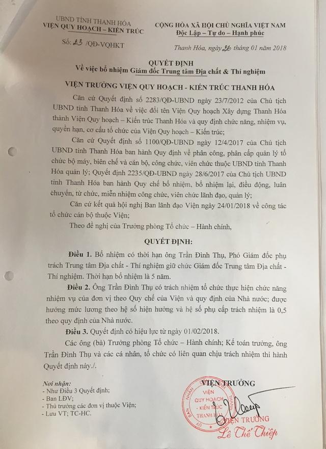 Quyết định bổ nhiệm ông Thụ khi ông này chưa đủ các tiêu chuẩn theo quy định của UBND tỉnh Thanh Hóa.