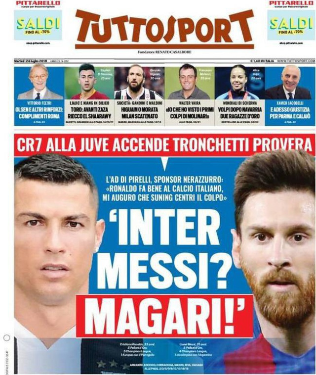 Thông tin Messi có thể gia nhập Inter Milan trên tờ Tuttosport