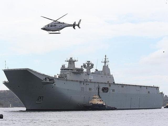 Tàu chiến Nuship Canberra của Australia (Ảnh: News.com.au)