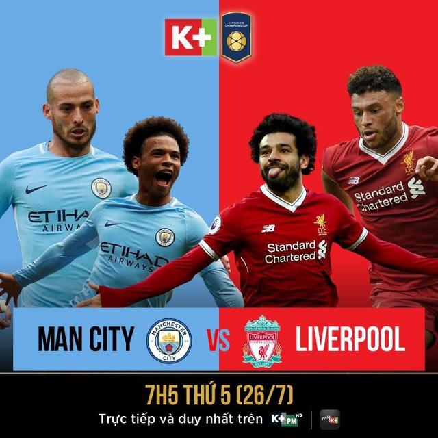 Cuộc đụng độ giữa Manchester City và Liverpool sẽ được phát sóng độc quyền trên kênh K+PC vào lúc 7 giờ sáng ngày 26/7