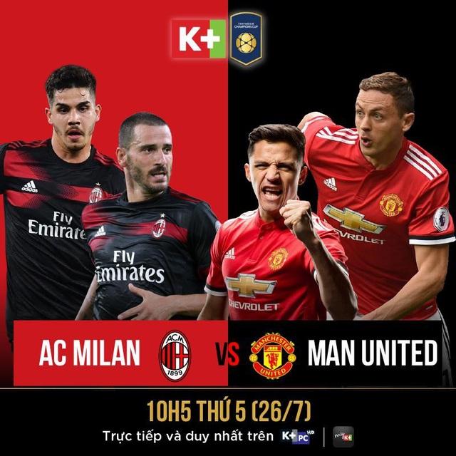 Cùng chờ đợi một AC Milan phong độ hay M.U đẳng cấp sẽ giành chiến thắng trong trận đấu diễn ra vào 10 giờ sáng ngày 26/7 trên K+PC
