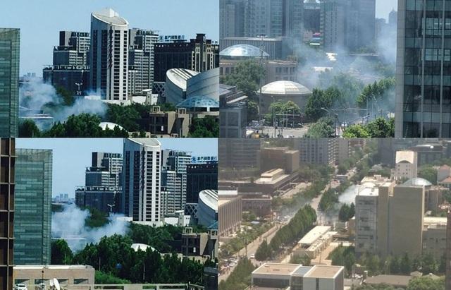 Hiện trường vụ nổ trước Đại sứ quán Mỹ tại Bắc Kinh (Ảnh: Weibo)