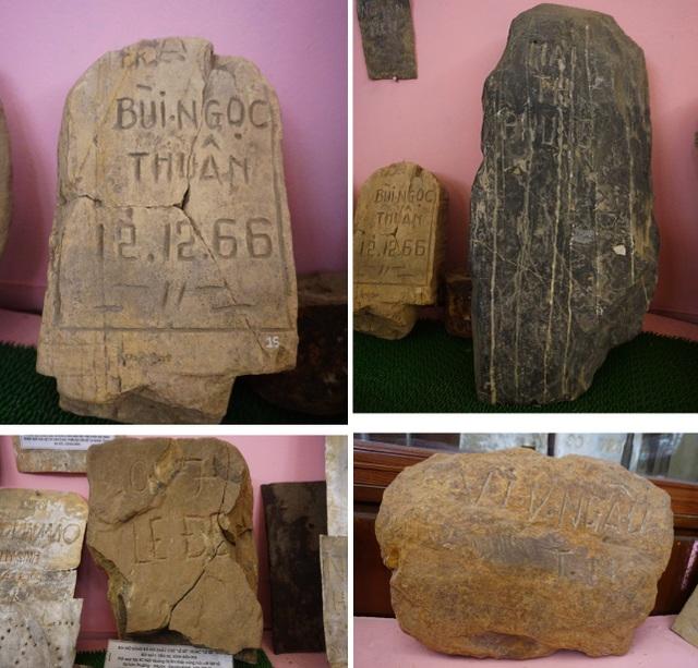 Những dòng tên liệt sĩ khắc vào đá núi...