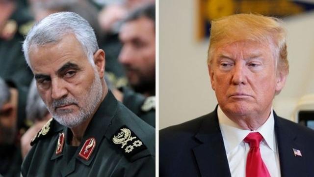 Tổng thống Mỹ Donald Trump (phải) và Thiếu tướng Qassem Soleimani thuộc Vệ binh Cách mạng Iran (Ảnh: Getty)