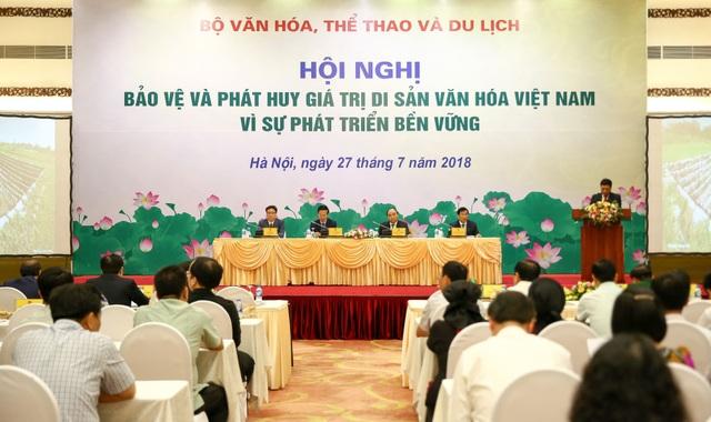 Toàn cảnh hội nghị Bảo vệ và phát huy giá trị di sản văn hoá Việt Nam vì sự phát triển bền vững diễn ra sáng nay tại Hà Nội. Ảnh: Nam Nguyễn.